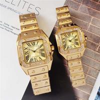 canela venda por atacado-40mm / 33mm casal homens mulheres diamante relógio de prata / ouro / rosa pulseira de ouro roman numérico caso shinning data relógio de quartzo