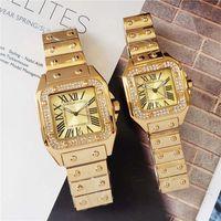 Wholesale case shin for sale – best 40mm mm Couple Men Women Diamond Watch Silver Gold Rose Gold Strap Roman Num Shinning Case Date Quartz Watch