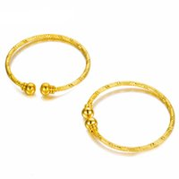 Wholesale bracelet children bell resale online - 2pcs Small Bangle for Girls Baby Gold Color Charm Beads Bracelet Small Bell Heart Jewelry Child Party Gifts