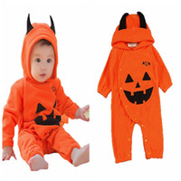 Wholesale shaping clothing resale online - 2019 Winter Halloween infant rompers long sleeve hooded pumpkin monster shape cute kids jumpsuit boutique toddler climbing clothes