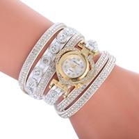 Wholesale handmade leather bracelets watches women resale online - Leather wrap watches for women heart shape dial watch handmade rope bracelet wristwatch Ladies quartz dress fashion watch