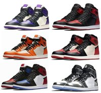 daim violet chaussures femmes achat en gros de-Chaussures de basket Bred 1s Bred Toe Shadow 1 Pinnacle 1s Court Pourpre Chicago High OG GS Triple black Livraison gratuite Hommes Femmes