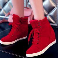 gizli takozlar platform çizme toptan satış-Kadın Ayak bileği Boot için Bahar Kadınlar Boots Sahte Süet Deri Kama Platformu Çizme Gizli Topuk Ayakkabı Yüksek Top Sneaker Casual Ayakkabı