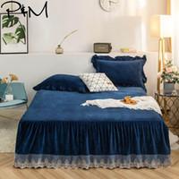 ingrosso formato della regina del tessuto del panno-PapaMima morbida Dormire Pizzo Bed gonna Federe 3pcs fogli materasso Cover Set Regina King Size Fleece Fabric