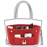 çok cep makyaj çantaları toptan satış-Kadınlar Obag Keçe Bez İç Çanta Debriyaj Çanta Günlük Malzemeleri Makyaj Organizatör Çok Cep Şekillendirici Bagaj Çantası Aksesuarları
