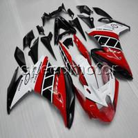 carenado para yamaha fz6r al por mayor-Regalos + Tornillos carenado de motocicleta ABS blanco rojo para Yamaha FZ6 FZ6R 2009-2010 Kit de carrocería Paneles de motocicleta
