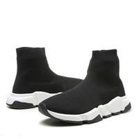 çorap sütyen toptan satış-Kutu ile 2019 Hız Koşucu Ayakkabı Çorap Tasarımcı Ayakkabı Üçlü Siyah Oreo Kırmızı Düz Eğitmen Erkek Kadın Ayakkabı US4.5- US11.5