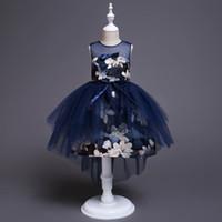 vestidos de damas de honor para niños al por mayor-Princesa de cumpleaños para niños vestido de fiesta para niñas flor infantil vestido de dama de honor elegante para niña bebé niñas ropa