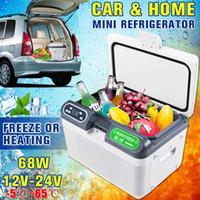 kompresör 12v otomatik toptan satış-12L 68 W Taşınabilir Araba Buzdolabı Kompresör Mini Oto Buzdolabı Kamyon Ev Dondurucu Seyahat Çift çekirdekli Soğutucu / Isıtıcı Kutusu DC12V / 24 V