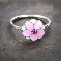 Wholesale enamel cherry resale online - 925 Silver Romantic Peach Flower Enamel Pink CZ Finger Rings for Women wedding Cherry blossoms Valentine s Day Couple Ring