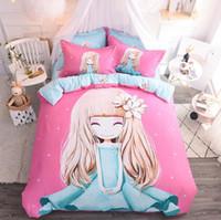 kinderbettwäsche setzt auf unisex großhandel-Bettwäsche-Sets Princess Pink Cover Set Bettlaken + Steppdecke + Kissenbezug Full King Queen Twin Kinder Größe Bettwäsche Set Kinderzimmer Bettwäsche