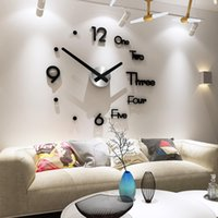 Wholesale home decor large clock for sale - Group buy Diy Large Wall Clock Modern Design D Wall Sticker Clock Silent Home Decor Living Room Acrylic Quartz Horloge Y200109
