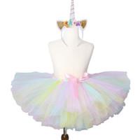 tul arcoiris al por mayor-1 Unidades Pastel Rainbow Unicornio Tutu Falda Bebé Niños Baile Tutu Fiesta de Cumpleaños Falda de Tul Niñas Niños Halloween Traje de Unicornio