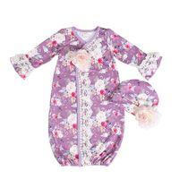 ingrosso disegno dell'abito delle neonate-Fashion Design Latte Seta all'ingrosso Neonate Abbigliamento Set Floral Sleeping Bag e cappello Pizzo impiombato maniche a campana Baby Night Gowns