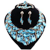 asiatischen indischen goldschmuck großhandel-10Color Luxus Multicolor-Farben-Kristall Halskette Schmuck-Sets Party Hochzeit Zubehör Indian Brautmodeschmuck