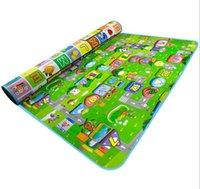счастливые полы оптовых-Manbao ребенка ползать коврик утолщенной счастливый город детская игра коврик складной мать и детские игрушки ползать коврик