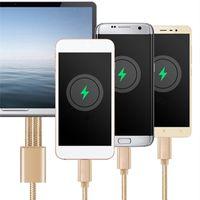 mobil şarj cihazları tipleri toptan satış-3 1 USB Kablo Xiaomi Çoklu 2.4a İçin Hızlı Samsung S10 S10E Cep Telefonu İçin Şarj Örgülü USB Tip C Tipi-c Mikro USB şarj kablosu