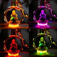 bola de cristal chaveiros venda por atacado-Dragon Ball Keychain Sun Wukong Son Gohan Anime Figura de Ação de Cristal Brinquedos LED Chaveiros Chaveiros Anel Moda Jóias