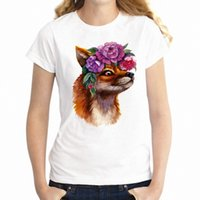 tilki gömlekli kadın toptan satış-Kadın T Shirt Çiçek Muhteşem Fox Çiçek Artsy Girl's Tee