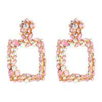 06e4c952d46e Pendientes de color rosa para mujeres grandes cuadrados de cristal  pendientes grandes 2019 rhinestone gota earing lujo joyería de moda  geométrica