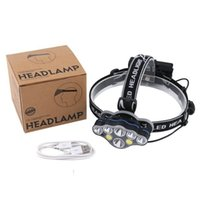 6*LED T6 COB Headlamp USB Rechargeable 18650 Battery Headlight Head Torch with Charger Gift Box Waterproof Super Bright for Fishing Camping