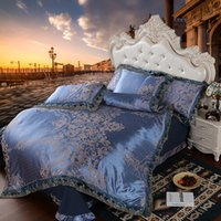 Wholesale luxury silk jacquard bedding sets online - luxury jacquard bedding set queen king size bed cotton silk lace duvet cover bed sheet sets pillowcase Gold silver coffee