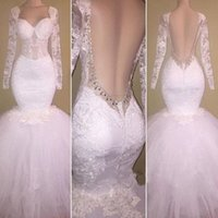 Wholesale new special dress for occasions resale online - New Lace Appliques Slim Mermaid Prom Dresses Backless Tiered Long Sleeves Vestidos De Evening Party Gowns Special Occasion for Women