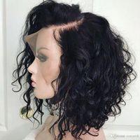 ingrosso parrucche ricci ondulate ondulate di capelli umani-Parrucche per capelli umani anteriori in pizzo riccio da 16 pollici per donne nere pre pizzicate con parrucca Bob ondulata corta per capelli brasiliani Remy per capelli frontali per bambini