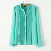 seide krepp t-shirt groihandel-2019 Frühlings-Frauen Crepe de Chine Seide Collor Shirts dünne lange Hülsen-Spitze-verstärkendes T-Shirt OL Silk Shirts Luxus Shirts