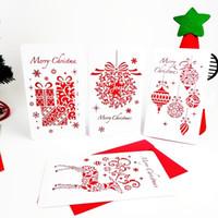 corte do laser do natal cartões venda por atacado-Feliz Natal Cartão Corte A Laser Cartão de Natal Moose Floco de Neve Xmas Árvore / Bola Papel Cartões