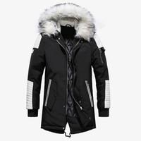 mens uzun sıcak kışlık palto toptan satış-Yüksek Kaliteli Kalın Sıcak Erkek Kış Ceket Kaban Büyük Kürk Kapüşonlu Sokak Stili Uzun Erkekler Parka Rahat Ince Erkek Dış Giyim