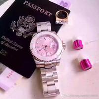 relógios de mulher quartzo de couro venda por atacado-38mm Feminino Relógios Cor De Rosa Das Mulheres Marca Designer De Moda Senhoras Vestido Relógio De Couro De Moda SSS Vermelho Dial Aço Inoxidável Relógio De Quartzo Cinto