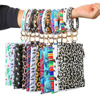 Wholesale double clutch wallets resale online - PU Wallet Bracelets Key Ring Women Leather Wallet Cell Phone Purse Clutch Wallet with Bangle Keychain Zipper Key Bag Double sided Printing