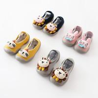 gummiböden großhandel-Mischen Sie 8 Farben Babykind Entwerfer-Socke beschuht niedlichen Karikatur der Kinder rutschfeste Fußbodensocken Kleinkindgummibogenprinzessin Sockenschuhe Sockenschuh