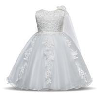 Wholesale boys dress for weddings resale online - Newborn Baby Girl Dress Baptism Dresses For Girls st Year Birthday Party Flower Wedding Christening Gown Infant Clothing Y19050602