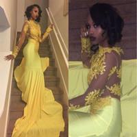uzun çarpıcı gece elbiseleri toptan satış-2019 Çarpıcı Sarı Payetli 2K19 Gelinlik Modelleri Seksi Yüksek Boyun Mermaid Uzun Kollu Abiye giyim BA5415