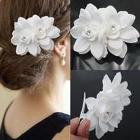 ingrosso le clip di capelli bianchi dell'orchidea matrimoni-1 pezzo di accessori per capelli da donna con fermaglio per capelli da sposa con fiore bianco per donna