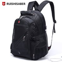 Wholesale laptop bag 17 inch women resale online - New Oxford Swiss Backpack Man External Charging USB Inch Laptop Women Travel Rucksack Vintage School Bags bagpack mochilaMX190903