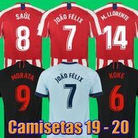 madrid futebol venda por atacado-19 20 JOÃO FÉLIX Atletico de Madrid Camisas de Futebol 2019 2020 LLORENTE camisa de futebol camisa de futebol de futebol kits jerseys JOAO FELIX