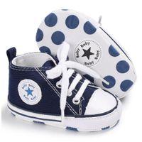 sapatas de passeio das meninas primeiras venda por atacado-lona recém-nascido sapatos aprendizagem pé do bebê primeira walkers calçados casuais meninos moccasins meninas macio único sneaker prewalker