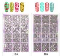 ingrosso modelli adesivi per unghie-Nail art Hollow Sticker Hollow Irregolare Stencil Nail Laser Image Transfer Guida Template Strumenti Nail Art per DIY KKA6408