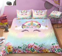 Wholesale kids girls bedding set for sale - Group buy Cute Unicorn bedding set for kids girls gifts Twin full Queen King size
