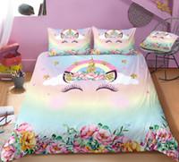 ropa de cama de matrimonio para niños al por mayor-Lindo juego de cama Unicorn para niños / niñas regalos Doble / completo / Queen / King size