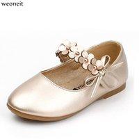 zapatos de boda princesa blanca al por mayor-Weoneit Zapatos para niñas Blanco Negro Oro Princesa Niños Zapatos para estudiantes Flor para niños Baby Dance Wedding Perform Shoe 31-36