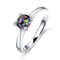 Mystic 925 SILVER PRINCESS CUT rainbow Topaz Zircon Cubique Chic rrings Femmes Bijoux Cadeau