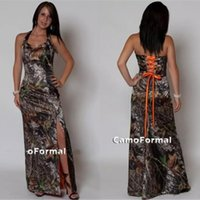 Wholesale sexy country bridesmaids dresses for sale - Vintage Camo Bridesmaid Dresses Sexy Split Side Lace up Back Camouflage Print Long Floor Length Plus Size Country Wedding Formal Gowns