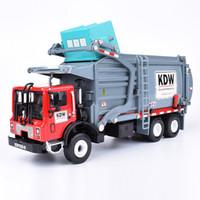 transportista de camiones al por mayor-Aleación Diecast Barreled Camión de basura Camión 1:24 Material de transporte de residuos de transporte Modelo Hobby Juguetes Para Niños Regalo de Navidad J190525