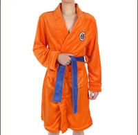 rote seidenroben männer großhandel-Der Dragon Ball Cartoon Charakter Print Mann Roben Männliche Roben Mit Gürtel Designer Goku Element Uniformen