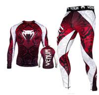 terno de lycra venda por atacado-Venom Impresso Mens Fatos Designer mangas compridas calças compridas Skinny Suit masculino que funciona Suits Esporte