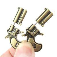 tabanca için küpe toptan satış-Kişilik Bronz Gümüş Punk Gun Şekilli Saplama Küpe Tabanca Küpe Kadın Erkek Hip Hop Takı